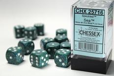 12 d6 Dice Set Chessex SPECKLED SEA 25716 Verde Blu Dadi Dado Die