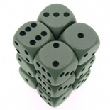 12 d6 Die Set Chessex OPAQUE GRIGIO nero Dice OPACO GREY nero Dadi Dado 25610