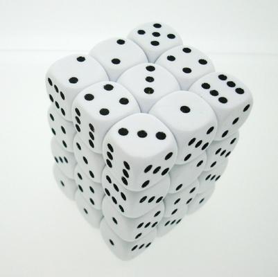 36 d6 Die Set Chessex OPAQUE WHITE black Dice OPACO BIANCO nero Dadi Dado 25801