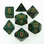 7 Die Set Chessex SPECKLED GOLDEN RECKON gold 25335 MACULATO RICOGNIZIONE oro Dadi Dado Dice