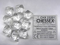 10 d10 Dice Set Chessex TRANSLUCENT CLEAR white 23201 TRASPARENTE bianco Dadi
