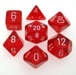 7 Die Set Chessex TRANSLUCENT RED white Dice ROSSO bianco Dadi Dado 23004