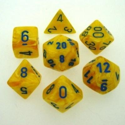 7 Die Set Chessex VORTEX YELLOW blue Dice GIALLO blu Dadi Dado 27432