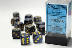 12 d6 Dice Set Chessex SPECKLED TWILIGHT 25766 Blue Red Dadi Dado Die