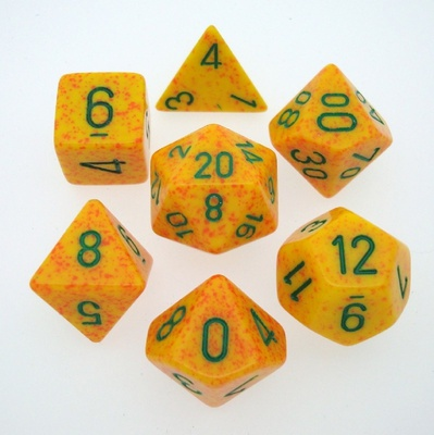 7 Die Set Chessex SPECKLED LOTUS green 25312 MACULATO LOTO verde Dadi Dado Dice