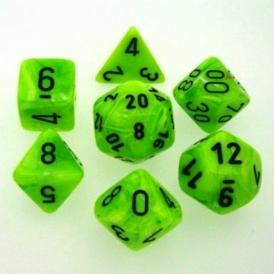 7 Die Set Chessex VORTEX BRIGHT GREEN nero Dice VERDE ACIDO nero Dadi Dado 27430