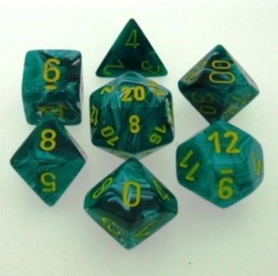7 Die Set Chessex VORTEX GREEN MALACHITE yellow Dice VERDE MALACHITE giallo Dadi Dado 27455