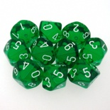 10 d10 Dice Set Chessex TRANSLUCENT GREEN white 23205 Dadi TRASPARENTI VERDE bianco