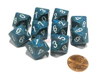 10 d10 Dice Set Chessex SPECKLED SEA White 25116 MACULATO MARE Bianco Dadi Dado