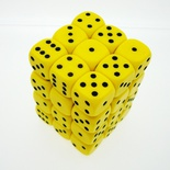 36 d6 Die Set Chessex OPAQUE YELLOW nero Dice OPACO GIALLO nero Dadi Dado 25802