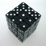 36 d6 Die Set Chessex OPAQUE BLACK white Dice OPACO NERO bianco Dadi Dado 25808