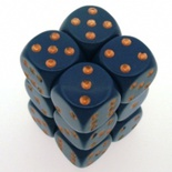 12 d6 Die Set Chessex OPAQUE DUSTY BLUE copper Dice OPACO BLU SPORCO rame Dadi Dado 25626