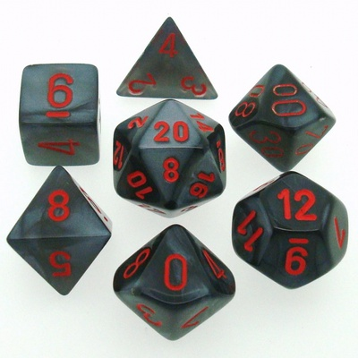7 Die Set Chessex VELVET BLACK red Dice NERO rosso Dadi Dado 27478