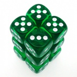 12 d6 Dice Set Chessex TRANSLUCENT GREEN white 23605 TRASPARENTI VERDE bianco Dadi Dado