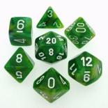 7 Die Set Chessex PHANTOM GREEN white Dice VERDE bianco Dadi Dado 27485