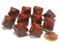 10 d10 Dice Set Chessex SPECKLED STRAWBERRY Green 25104 MACULATO FRAGOLA Verde Dadi Dado
