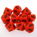 10 d10 Dice Set Chessex OPAQUE ORANGE black 26203 Dadi OPACO ARANCIONE nero