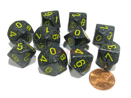 10 d10 Dice Set Chessex SPECKLED URBAN CAMO Yellow 25128 MACULATO URBAN Giallo Dadi Dado