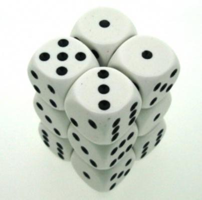 12 d6 Die Set Chessex OPAQUE WHITE black Dice OPACO BIANCO nero Dadi Dado 25601