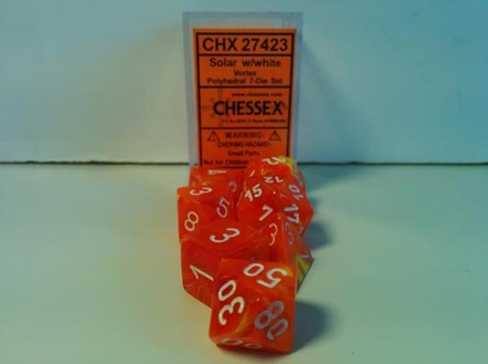 7 Die Set Chessex VORTEX YELLOW SOLAR white Dice GIALLO SOLARE bianco Dadi Dado 27423