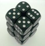 12 d6 Dice Set Chessex OPAQUE BLACK white 25608 Dadi OPACO NERO bianco