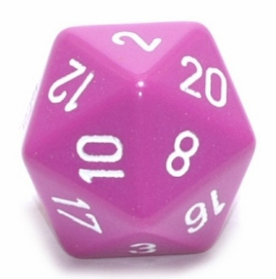 d20 Dice Chessex 16mm Opaque Light Purple white PQ2027 Dado Opaco Viola Chiaro bianco