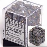 36 d6 Dice Set Chessex LEAF BLACK silver 27810 Dadi Foglia Nero oro