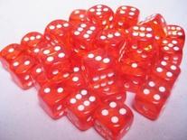 36 d6 Dice Set Chessex TRANSLUCENT ORANGE white 23803 Dadi Trasparente Arancione