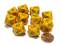 10 d10 Dice Set Chessex SPECKLED LOTUS Green 25112 MACULATO LOTO Verde Dadi Dado