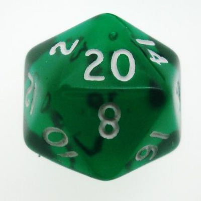 d20 Dice Chessex 16mm Translucent Green white PT2005 Dado Trasparente Verde bianco