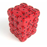 36 d6 Dice Set Chessex OPAQUE RED black 25814 Dadi Opaco Rosso