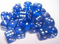 36 d6 Dice Set Chessex TRANSLUCENT BLUE white 23806 Dadi Trasparente Blu
