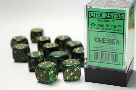 12 d6 Dice Set Chessex SPECKLED GOLDEN RECON 25735 Green Black Dadi Dado Die