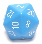 d20 Dice Chessex 16mm Opaque Light Blue white PQ2016 Dado Opaco Azzurro bianco