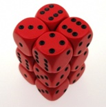 12 d6 Dice Set Chessex OPAQUE RED black 25614 Dadi OPACO ROSSO nero
