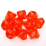 10 d10 Dice Set Chessex TRANSLUCENT ORANGE white 23203 Dadi TRASPARENTI ARANCIO bianco