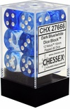 12 d6 Dice Set Chessex NEBULA DARK BLUE White 27666 BLU SCURO Bianco Dadi Dado