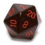 d20 Dice Chessex 16mm Opaque Black red PQ2018 Dado Opaco Nero rosso