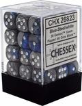 36 d6 Dice Set Chessex BLUE STEEL White 26823 BLU ACCIAIO Bianco Dadi Dado