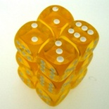 12 d6 Dice Set Chessex TRANSLUCENT YELLOW white 23602 TRASPARENTI GIALLO bianco Dadi Dado