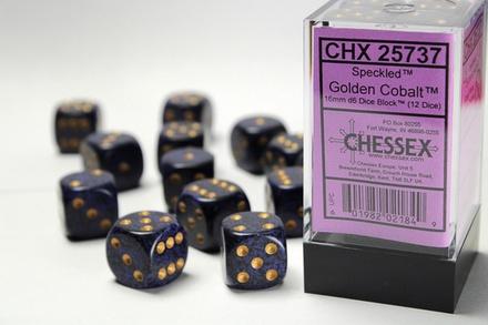 12 d6 Dice Set Chessex SPECKLED GOLDEN COBALT 25737 Blue Purple Dadi Dado Die