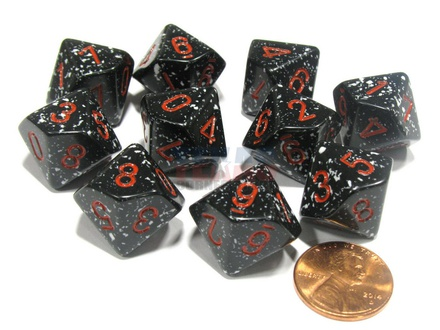 10 d10 Dice Set Chessex SPECKLED SPACE Red 25108 MACULATO SPAZIO Rosso Dadi Dado