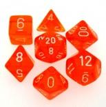 7 Die Set Chessex TRANSLUCENT ORANGE white Dice ARANCIONE bianco Dadi Dado 23003