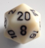 d20 Dice Chessex 16mm Opaque Ivory black PQ2000 Dado Opaco Avorio nero