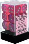 12 d6 Dice Set Chessex BOREALIS PINK White 27604 ROSA Bianco Dadi Dado
