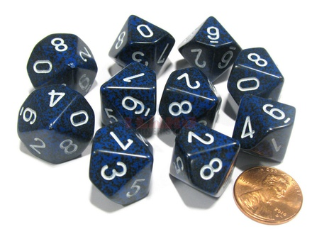 10 d10 Dice Set Chessex SPECKLED STEALTH White 25146 MACULATO STEALTH Bianco Dadi Dado