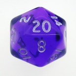 d20 Dice Chessex 16mm Translucent Purple white PT2007 Dado Trasparente Viola bianco