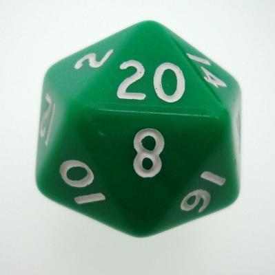 d20 Dice Chessex 16mm Opaque Green white PQ2005 Dado Opaco Verde bianco