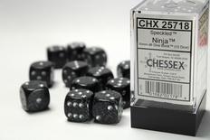 12 d6 Dice Set Chessex SPECKLED NINJA 25718 Black Nero Dadi Dado Die