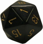d20 Dice Chessex 16mm Opaque Black gold  PQ2028 Dado Opaco Nero oro